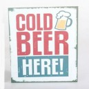 "Placa de metal vintage, retro ""Cold Beer"""