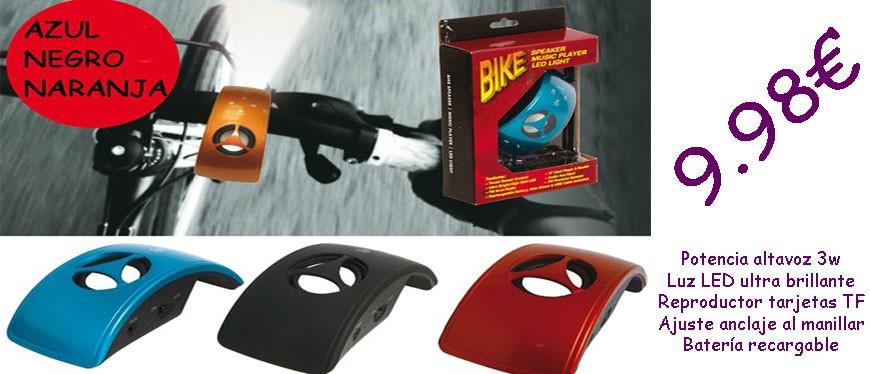 Altavoz, luz, y tu música preferida en tu pasión de bicicleta.