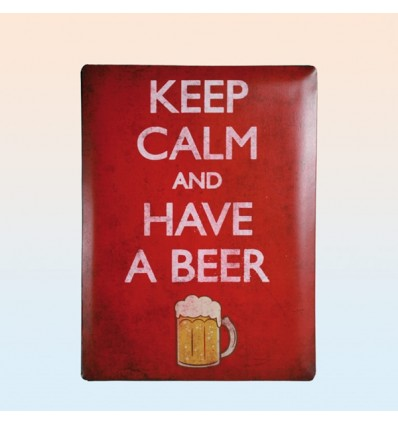 "Placa de metal ""Keep calm and have a beer"""