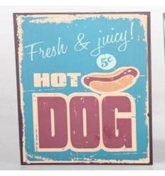 """Placa de metal vintage, retro """"Hot Dog"""""""