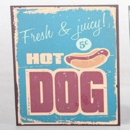 "Placa de metal vintage, retro ""Hot Dog"""