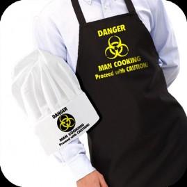 """Conjunto gorro y delantal """"hombre cocinando"""""""