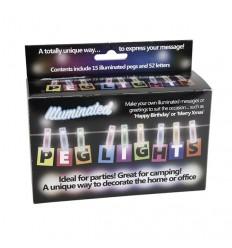 Pinzas y letras con luces led de colores