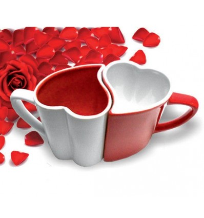 Set de 2 tazas en forma de corazón roja y blanca