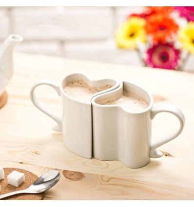 Set de 2 tazas blancas en forma de corazón