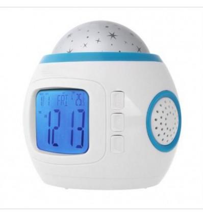 Reloj despertador con música y proyección de estrellas