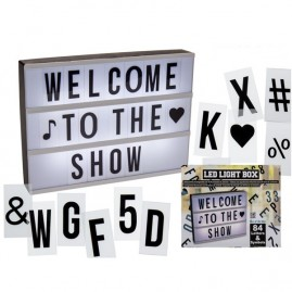 Expositor iluminado con 84 letras y símbolos