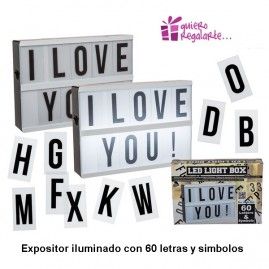 Expositor iluminado con 60 letras y símbolos