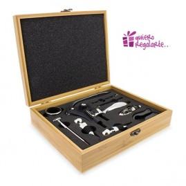 Kit de accesorios para el vino en caja de Bambú